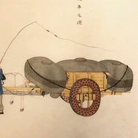 Antique Chinese Gouache Painting on Pith Paper of Worker with Horse Drawn Cart