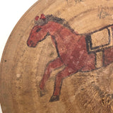 Japanese Horse Roulette in Turned Wooden Box with Great Text on Bottom