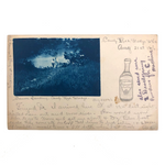 Interesting 1906 Cyanotype Postcard from Camp Red Wedge, with Gingerale Drawing