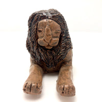 Brown Glazed Folk Art Signed Clay Lion in the Manner of John Bell