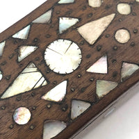 Antique Treen Snuff Box with Mother of Pearl Inlay