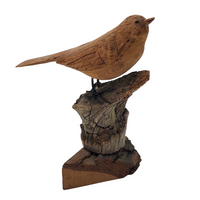 Carved and Signed Wooden Bird on Driftwood and Log Base