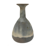 Cream and Pale Blue-Gray Glazed Studio Pottery Budvase with Long Neck