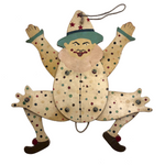Polka Dotted Antique Hanging Jumping Jack Pull Toy Clown