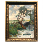 American Oil on Board Painting of Fallen Tree, Signed REA, 1949