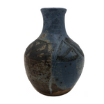 Drippy Blue Glazed Studio Pottery Bud Vase with Banded Design of Black Triangles