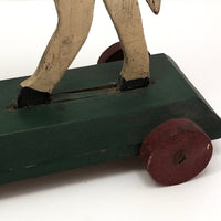 Antique Wooden Folk Art US Army Horse Pull Toy