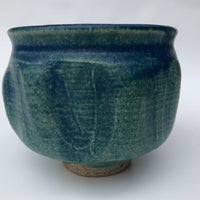 Mid-Century Sculptural Blue Green Glazed Studio Pottery Bowl or Planter