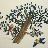 Small Early 19th Century Folk Art Watercolor, Birds in Tree