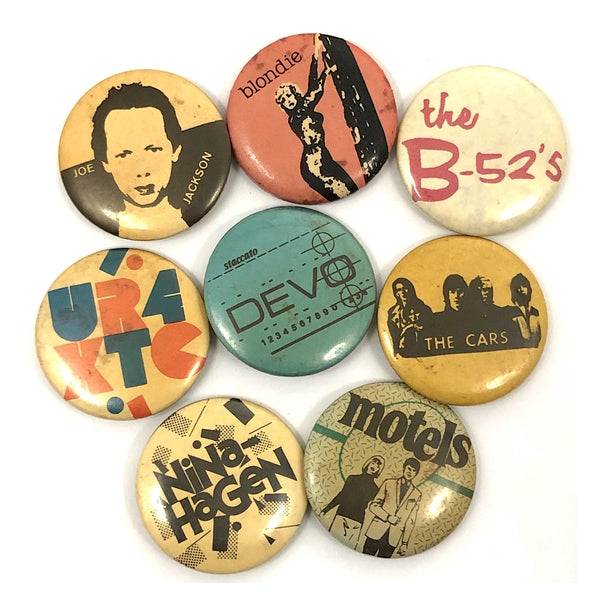 Vintage Early 80s New Wave Band Pinback Buttons - Sold Individually