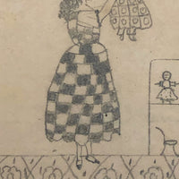 Miniature Early 19th Century Pencil Sketch of Girl with Doll
