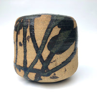 Studio Pottery Ikebana Vase by With Expressionistic Black and Dark Green Glazing