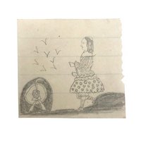 Miniature Early 19th Century Pencil Sketch of Girl in Fabulous Dress!