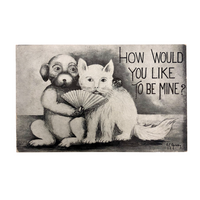 "Dog and Cat ""How Would You Like to Be Mine?"" Antique Valentine Postcard"