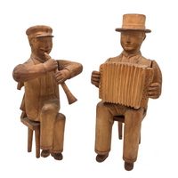 Beautifully Carved Folk Art Musicians, Presumed Swiss or German c. 1930s - SOLD INDIVIDUALLY