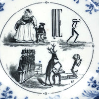 SOLD (for YB) Vieillard Bordeaux c. 1850s French Faience Blue & White Rebus Plates - Set of 6