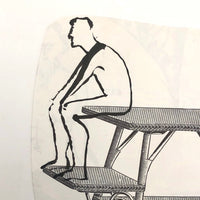 James Bone Couple with Backs Turned on Wicker Table, Drawing on Collage