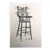James Bone Cat Whiskers on Wicker High Chair Drawing on Collage