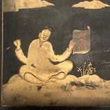 Hand-painted Gold on Black Japanese Lacquer Box with Figure, Signed