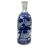 Japanese Sake Bottle with Hand-painted Underglaze Blue Decoration