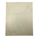 James Bone Pencil Drawing of Cat with Two Tails on Green Paper