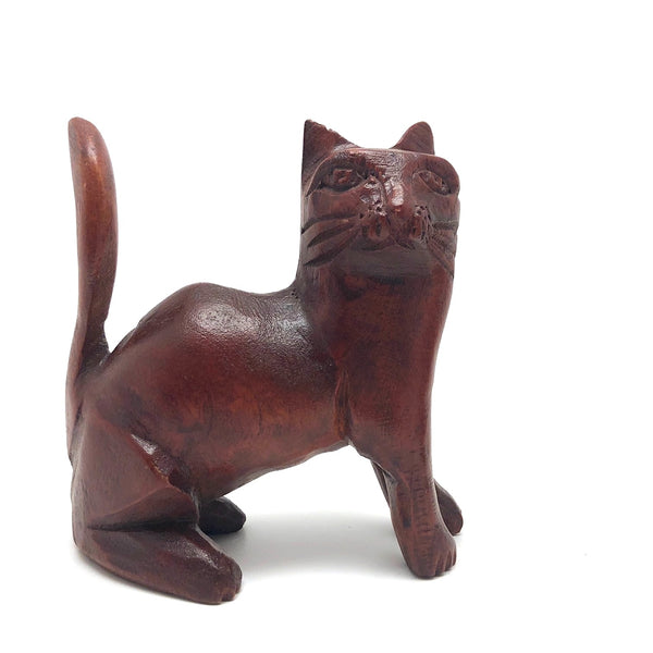 Reddish Stained Carved Folk Art Cat