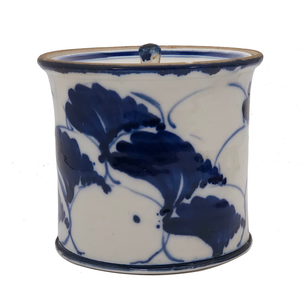 Beautiful Blue and White Lidded Porcelain Canister with Handpainted Ginko Leaf Design