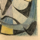 Abstract Mid-Century Colored Pencil and Graphite Drawing Signed Beata