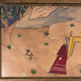 Late 1800s Watercolor Drawing of Native American Woman with Papoose and Dog