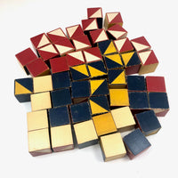 U.S. Embossing Co c. 1930s Color Cubes Set of 49,  with Raised Diagonals