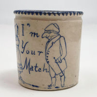"Antique Stoneware ""I'm Your Match"" Match Holder"
