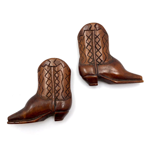 Beautifully Carved Treen Cowboy Boots!