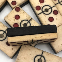 Unusual Antique Bone & Ebony Dominoes with Red Dots, Center Rings -- Complete Set