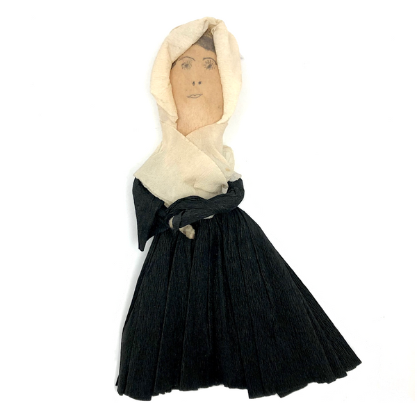 Handmade Crepe Paper Pilgrim Doll with Pencil Drawn Wooden Face