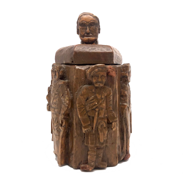 Crazy Carved Wooden Canister with Six Figures and Head on Top!