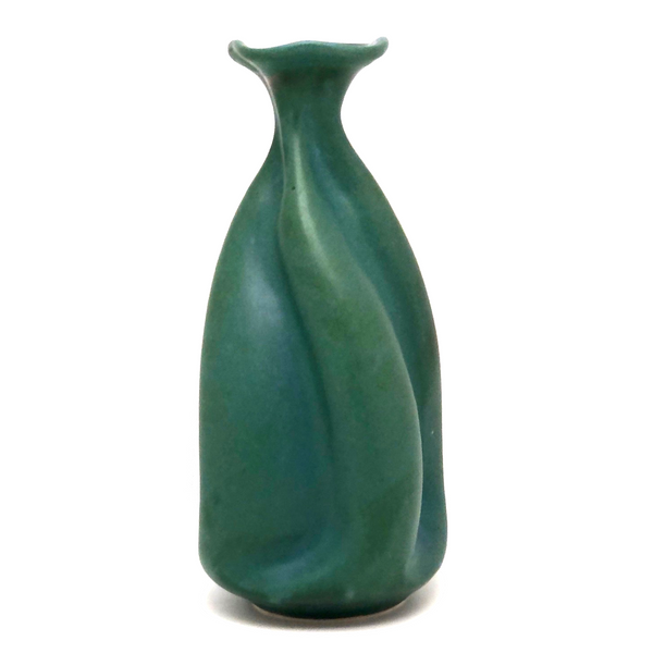 Gorgeous 2004 Twisted Neck Matte Green Studio Pottery Vase