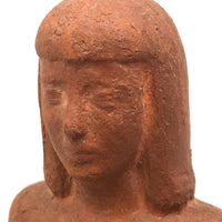 Seated Young Woman, Terra-cotta Sculpture, Signed LB