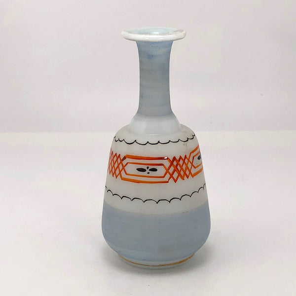 Hand-painted Glass Bud Vase With Orange and Black Details