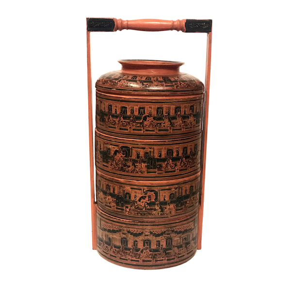Burmese Yun-De Lacquer Four Tier Wedding Basket / Stacking Boxes