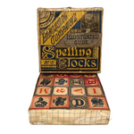 Terrific Early Embossing Company Blocks in Tenderly Mended Original Box
