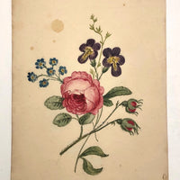Lovely Late 19th C Floral Watercolor Friendship Picture
