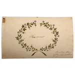 "(Sold-hold for KA) Antique French Watercolor ""Souvenir"" Wreath"