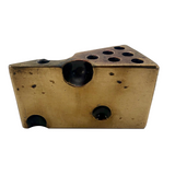 Brass 1970s Swiss Cheese Paperweight Pen Holder
