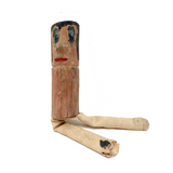 Funny Little Whittled Doll with Painted Face, Cloth Pants