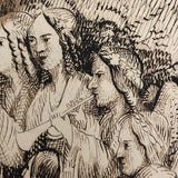 Descend and Sing Antique Ink Drawing After Alexander Pope Poem