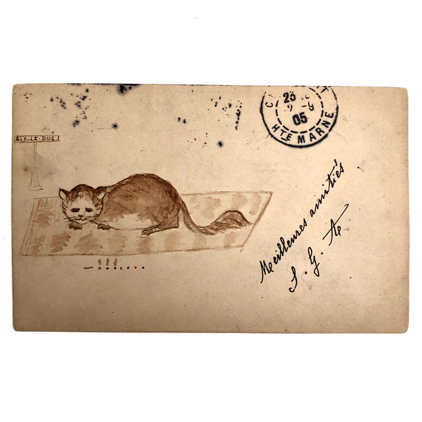 French Cat on Rug Antique Ink Drawn Postcard