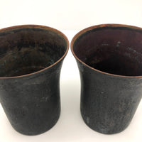 SOLD (hold for KA) Blackened Copper Tumblers - A Pair