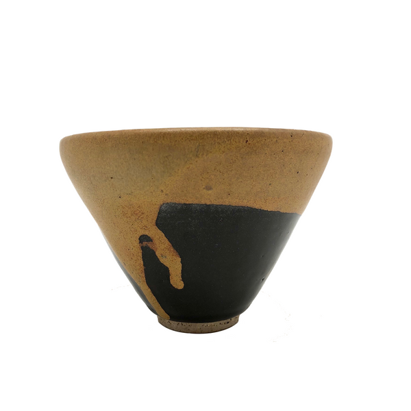 SOLD (hold for KA) Ochre and Shiny Black Glazed Studio Pottery Cup/Bowl/Small Planter