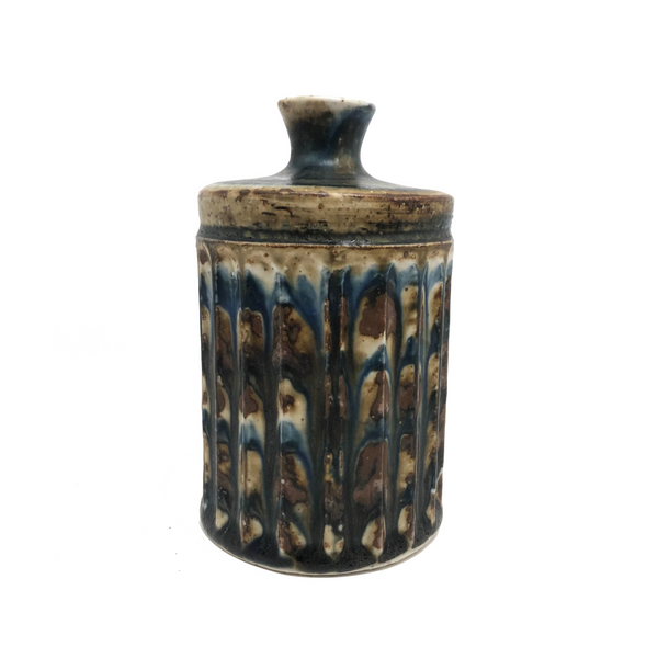 Mid-Century Otagiri, Japan Ribbed Stoneware Budvase with Drippy Marbled Glazing