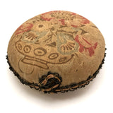 "Old Printed Linen and Lace ""Get Hot"" Pin Cushion"